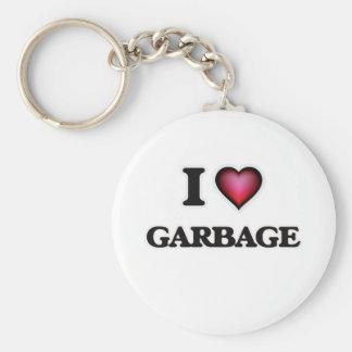 J'aime des déchets porte-clé rond