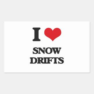 J'aime des dérives de neige sticker rectangulaire
