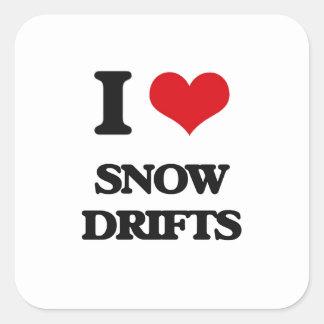 J'aime des dérives de neige sticker carré