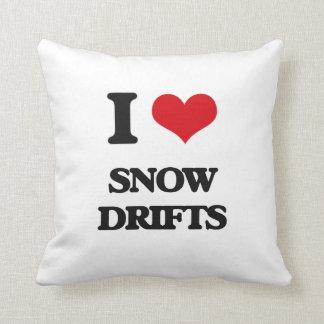 J'aime des dérives de neige oreiller