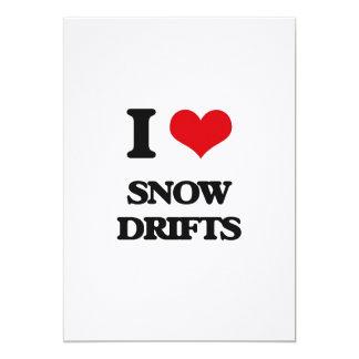J'aime des dérives de neige carton d'invitation  12,7 cm x 17,78 cm