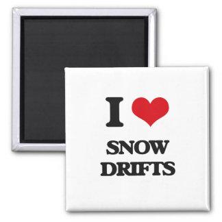 J'aime des dérives de neige magnet carré