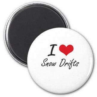 J'aime des dérives de neige magnet rond 8 cm