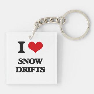 J'aime des dérives de neige porte-clé carré en acrylique double face