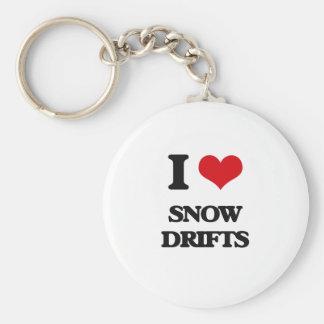 J'aime des dérives de neige porte-clé rond