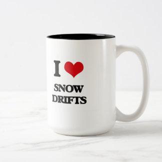 J'aime des dérives de neige mug bicolore