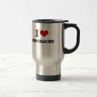 J'aime des dinosaures mug de voyage en acier inoxydable