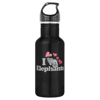 j'aime des éléphants bouteille d'eau en acier inoxydable