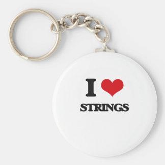 J'aime des ficelles porte-clé rond