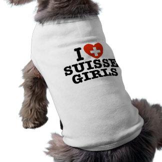 J'aime des filles de Suisse T-shirt Pour Chien