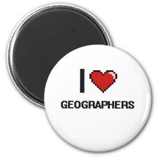 J'aime des géographes magnet rond 8 cm
