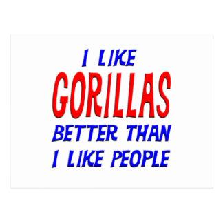 J'aime des gorilles meilleurs que j'aime la carte cartes postales