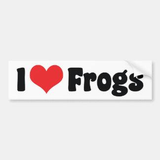 J'aime des grenouilles de coeur autocollant de voiture