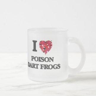 J'aime des grenouilles de dard de poison mug en verre givré