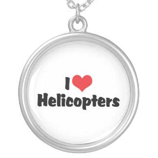 J'aime des hélicoptères de coeur pendentif rond