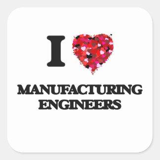 J'aime des ingénieurs de fabrication sticker carré