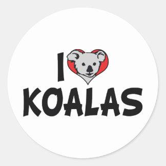 J'aime des koala de coeur - amants d'ours de koala sticker rond