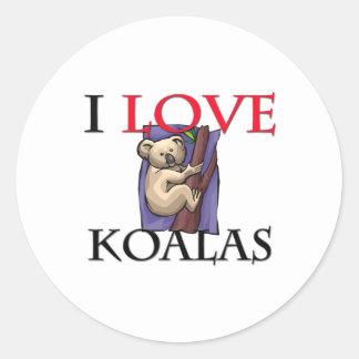 J'aime des koala sticker rond