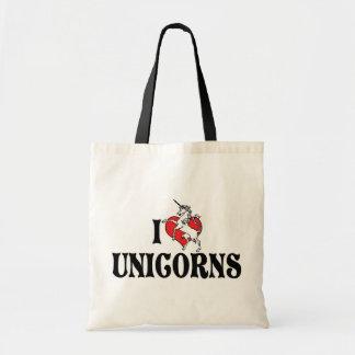 J'aime des licornes de coeur sac de toile