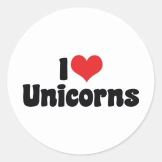 J'aime des licornes de coeur sticker rond