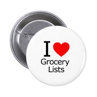 J'aime des listes d'épicerie pin's
