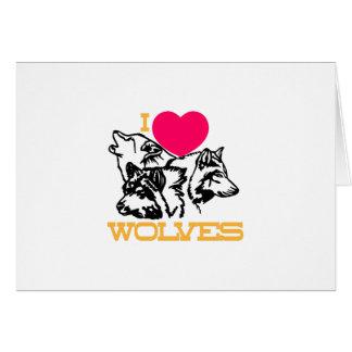 J'aime des loups carte de vœux