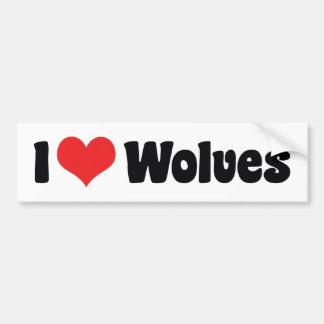 J'aime des loups de coeur - amant de loup autocollant de voiture