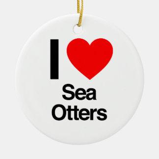 j'aime des loutres de mer ornement de noël