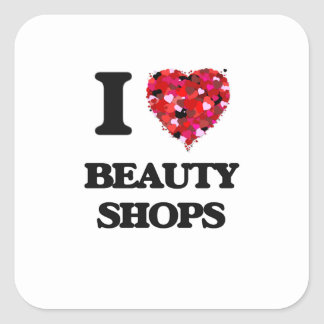 J'aime des magasins de beauté sticker carré