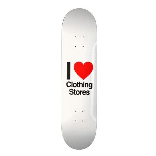 j'aime des magasins d'habillement plateau de planche à roulettes
