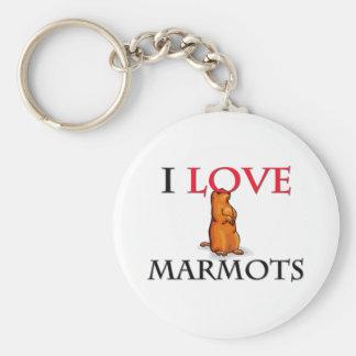 J'aime des marmottes porte-clé rond