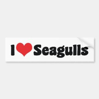 J'aime des mouettes de coeur - amant d'oiseau autocollant de voiture