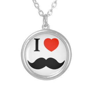 J'aime des moustaches pendentif rond