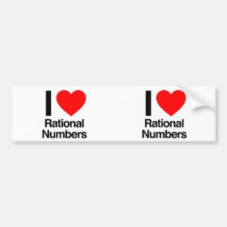 j'aime des nombres rationnels autocollants pour voiture