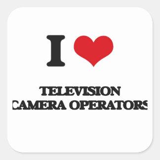 J'aime des opérateurs de caméra de télévision autocollants carrés