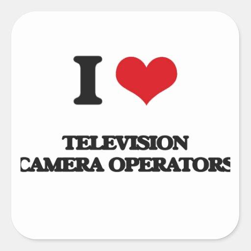 J'aime des opérateurs de caméra de télévision stickers carrés
