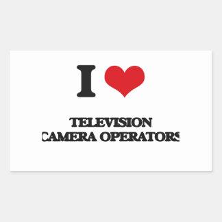 J'aime des opérateurs de caméra de télévision autocollant en rectangle