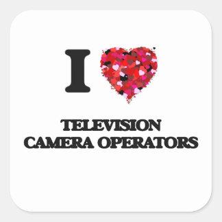 J'aime des opérateurs de caméra de télévision sticker carré