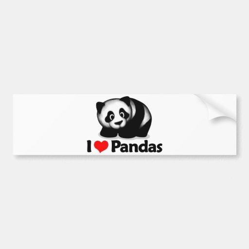 J'aime des pandas adhésif pour voiture