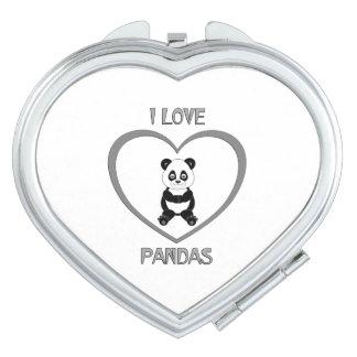 J'aime des pandas miroirs compacts