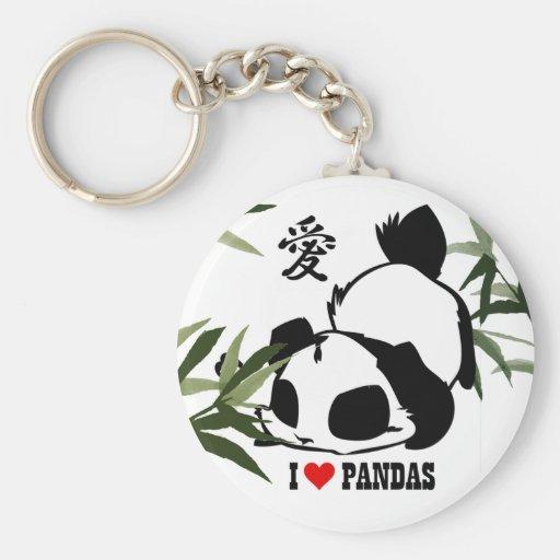 J'aime des pandas porte-clés