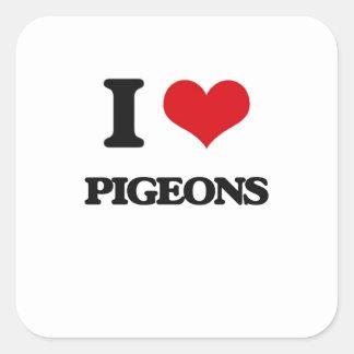 J'aime des pigeons sticker carré
