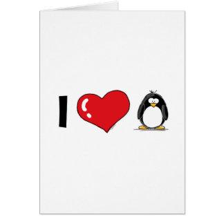 J'aime des pingouins carte de vœux