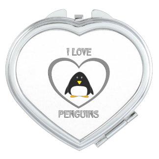 J'aime des pingouins miroir de poche