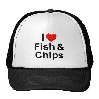 J'aime des poissons et des puces (de coeur) casquette trucker