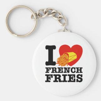 J'aime des pommes frites porte-clé rond