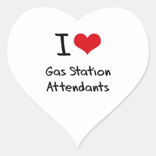 J'aime des préposés de station service autocollant en cœur