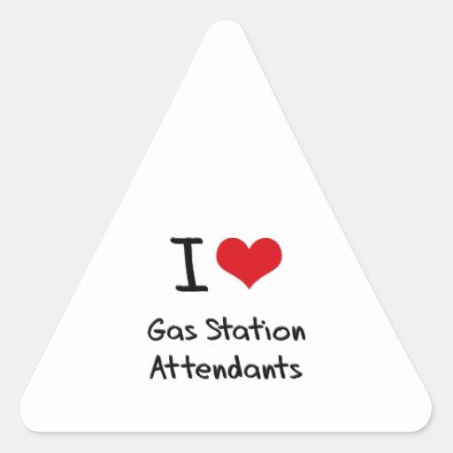 J'aime des préposés de station service sticker en triangle