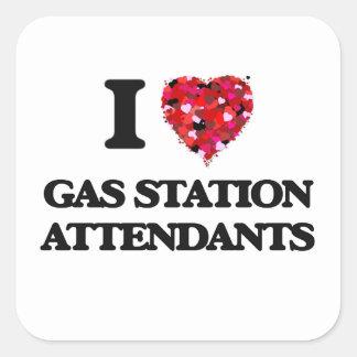 J'aime des préposés de station service sticker carré