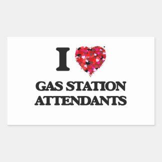 J'aime des préposés de station service sticker rectangulaire